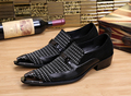 2017 New Black Italian Men Dress Shoes Pointed Toe Genuine Leather Men Business Wedding Shoes Luxury Men Flats Plus Size