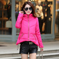 2016 New Winter Coat Dress Short Female Hooded Down Long Sleeved Cotton Irregular Hem Winter Jacket Women Down Parka Coat