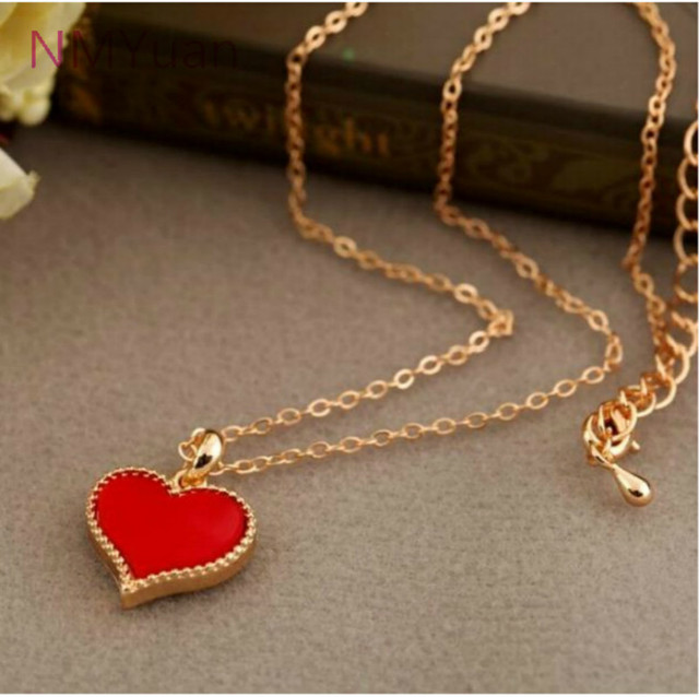 fashion Hot New Gossip Girl Serena Red Hearts With Love Necklace Clavicle Chain