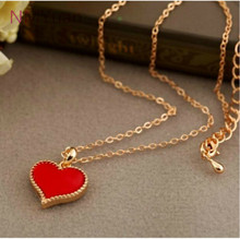 fashion Hot New Gossip Girl Serena Red Hearts With Love Necklace Clavicle Chain Models Clover Wholesales