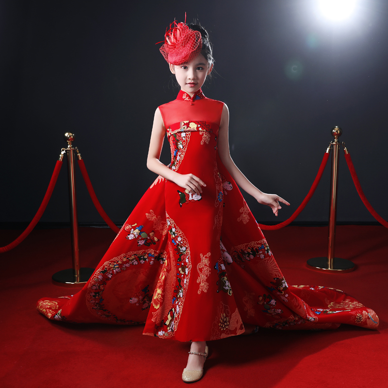Chinese Style Red Exquisite Princess Girl Dress Catwalk Baptism Party Prom Dress Girls Wedding Birthday Gown With Long Trail 564 knotted plunge long prom dress with slit