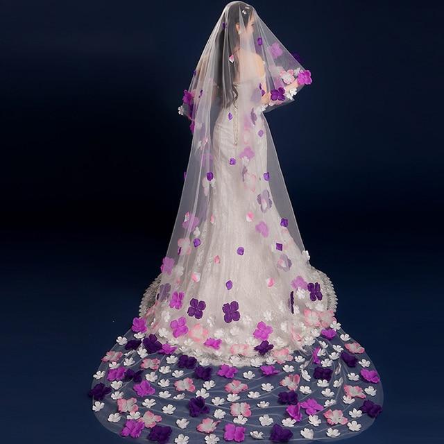 2016 Trendy Romantic Long Floral Bridal Veils Size 135cm * 175cm Purple Flower Wedding Veil Wedding Accessories Velos De Novia