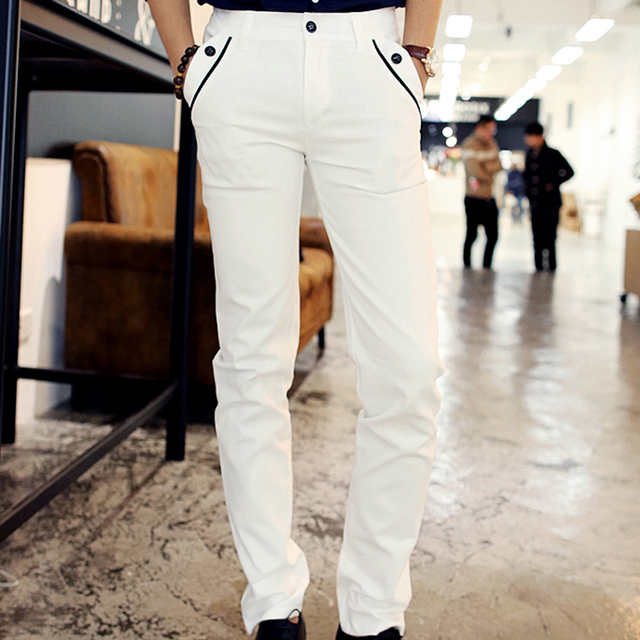 New Spring Men Casual White Pencil Pants Cotton Pants Shinny Cargo Pants With Pockets For Charming Men Sexy Dress Trousers