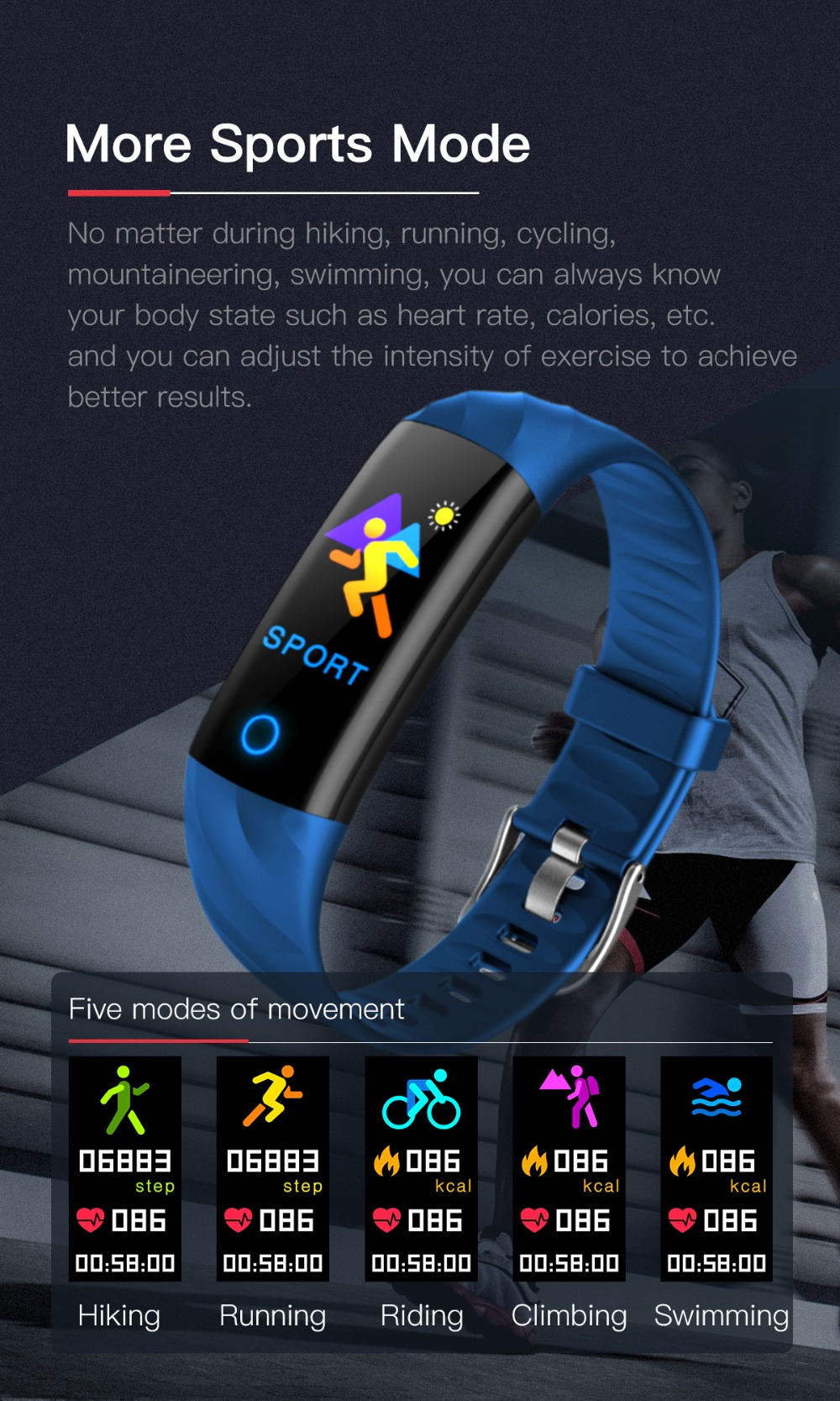 Torntisc S5 Heart Rate Fitness Bracelet IP68 Waterproof Blood pressure oxygen Monitor Color Screen Activity Tracker Smart Band Watch (9)