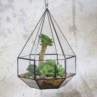 Wall Hanging Planter Indoor Flowerpot Succulent Pot Glass Geometric Terrarium Tabletop Succulent Plant Pot Flower Pot Decorative
