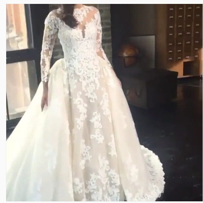 f8e1fba82d Cuello redondo de manga larga de la boda vestido de noiva casera 2016 se  casó con vestido de novia con vestido de matrimonio RT47 Apliques de perlas  en ...