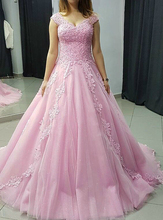 Lilac Tulle Quinceanera Dresses 2019 Ball Gown Lace Appliques V Neck Backless Vestidos De 15 Anos