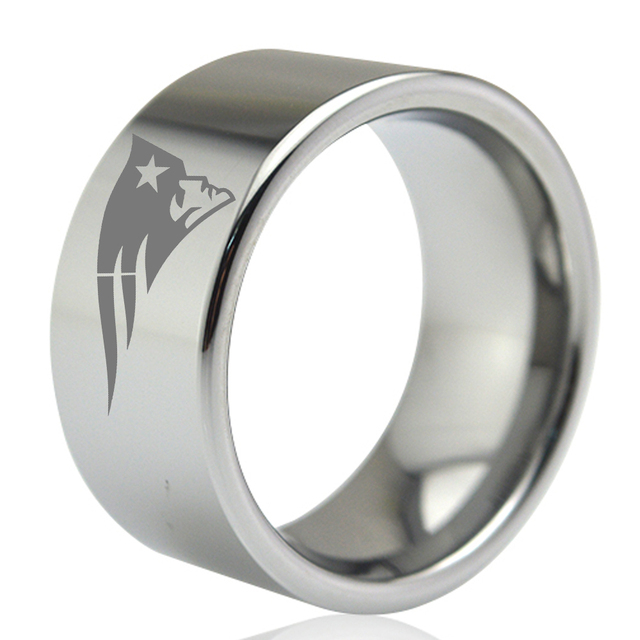 Dropshipping 11MM Wide Big Metal Ring for Men Male Silver Flat Tungsten Wedding Band Engraved New England Patriots Size 7 to 13
