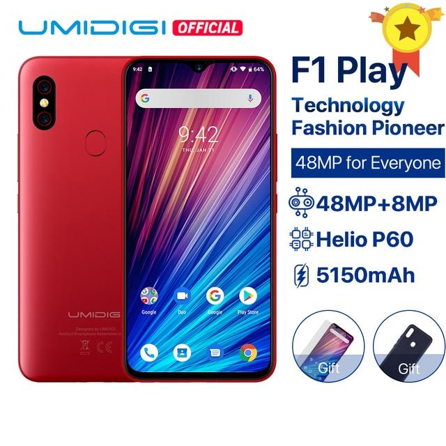 "UMIDIGI F1 Play Android 9.0 48MP+8MP+16MP Cameras 5150mAh 6GB RAM 64GB ROM 6.3"" FHD+ Helio P60 Global Version Smartphone Dual 4G"
