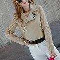 2016 Новых Женщин Искусственная Кожа Куртка Женская Весна Осень PU Мотоцикла Пальто Краткости Черный Хаки Верхняя Одежда