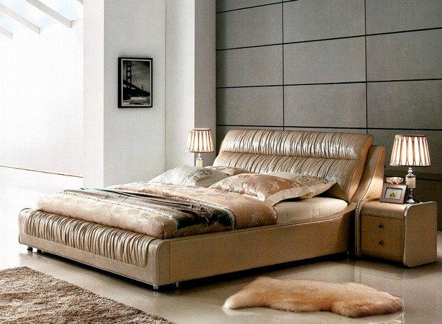 ruffle contemporary genuine leather bed modern bedroom furniture made in  China-in Beds from Furniture