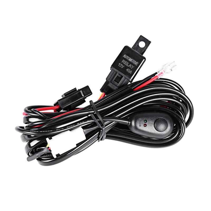 Auxmart Car Auto Wire Relay for Offroad Driving Light Headlight Led Work Light Bar Wiring Loom Harness kit DC12V 24v
