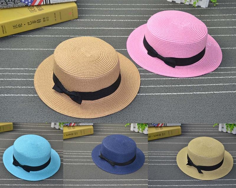 Lady Boat Sun caps Ribbon Round Flat Top Straw beach hat Panama Hat summer hats for women straw hat snapback gorras