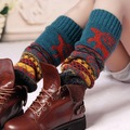 Womens Fashion Winter Knit Crochet Knitted deer Leg Warmers Legging Boot Cover Contrast Color Gaiters Boot Cuffs
