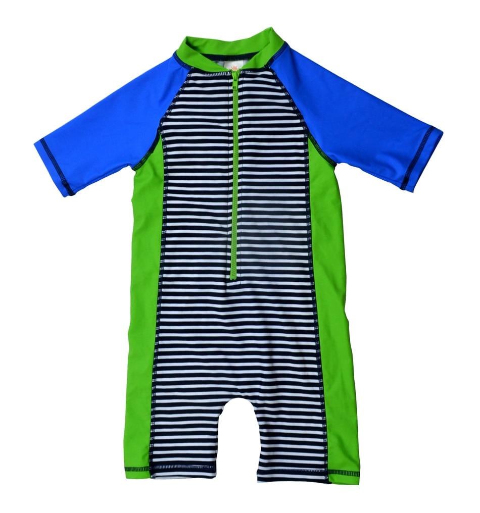 Bonverano(TM) Baby Boys' Swimwear Sunsuit UPF 50+ UV Protection S/S Zipper Stripe One Piece Rashguard Swimsuit upf50 rashguard bodyboard al004