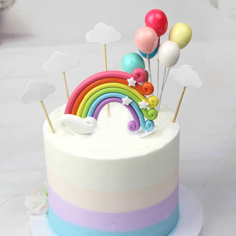 Радуга Единорог топперы на свадебный торт украшение для торта ко дню рождения Надувное облако флажки для торта украшения для кексов Единорог вечерние поставки