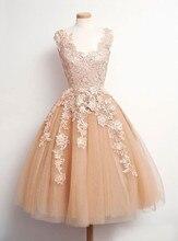 Süße V-ausschnitt Rosa Champagne Kurze Heimkehr Kleider mit Applikationen & Spitze Graduierung Cocktailkleider vestido de formatura