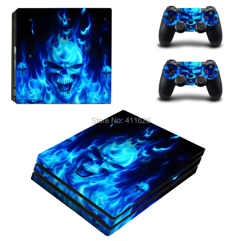 Blue Fire Vinyl Decal For PS4 Pro Skin Stickers for Sony PlayStation 4 Pro Console and 2 Controllers Decorative Skins