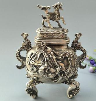 Collectible archaize white copper kirin dragon phoenix incense burner