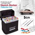 FINECOLOUR 36/48/60/72 Kleur Art Marker Set Dual Head Vette Alcohol Gebaseerd Sketch Markers Pen voor Kunstenaar Tekening Ontwerp Benodigdheden