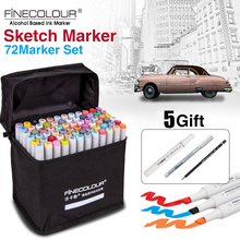 FINECOLOUR 36/48/60/72 di Colore Art Marker Set A Doppia Testa A Base di Alcool Grassa Marcatori Schizzo Penna per Artista Disegno Forniture di Design