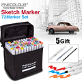 Juego de marcadores de arte de Color FINECOLOUR 36/48/60/72, rotuladores de dibujo con base de Alcohol de doble cabeza para suministros de diseño de dibujo de artista