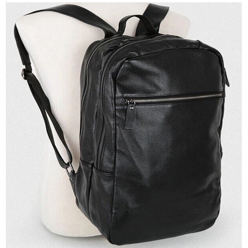 New Men/'s Genuine Cow  Leather Backpack Travel School Book Bag laptop Bag Black