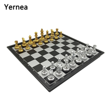 Yernea Magnetic Chess board Game Set New Folding Chessboard Plastic Pieces Gold and Silver Color
