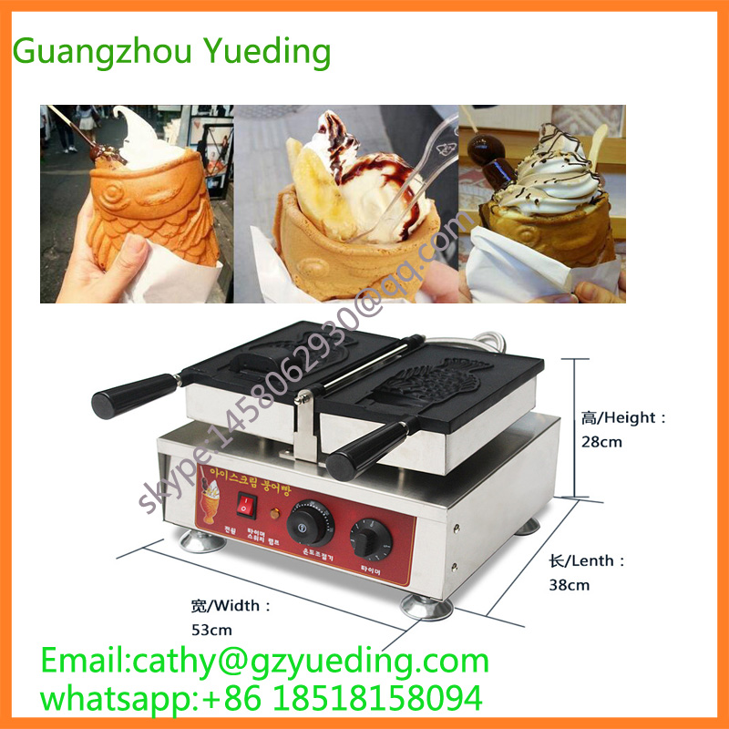 Korea single ice cream taiyaki Open big mouth fish shape waffle maker machine
