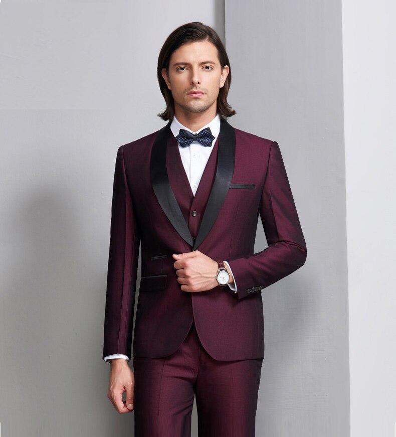 Новинка, итальянский стиль, смокинги для жениха на заказ, облегающие костюмы для жениха, Черная шаль с отворотом, 3 предмета, мужские свадебные костюмы для выпускного вечера - 5