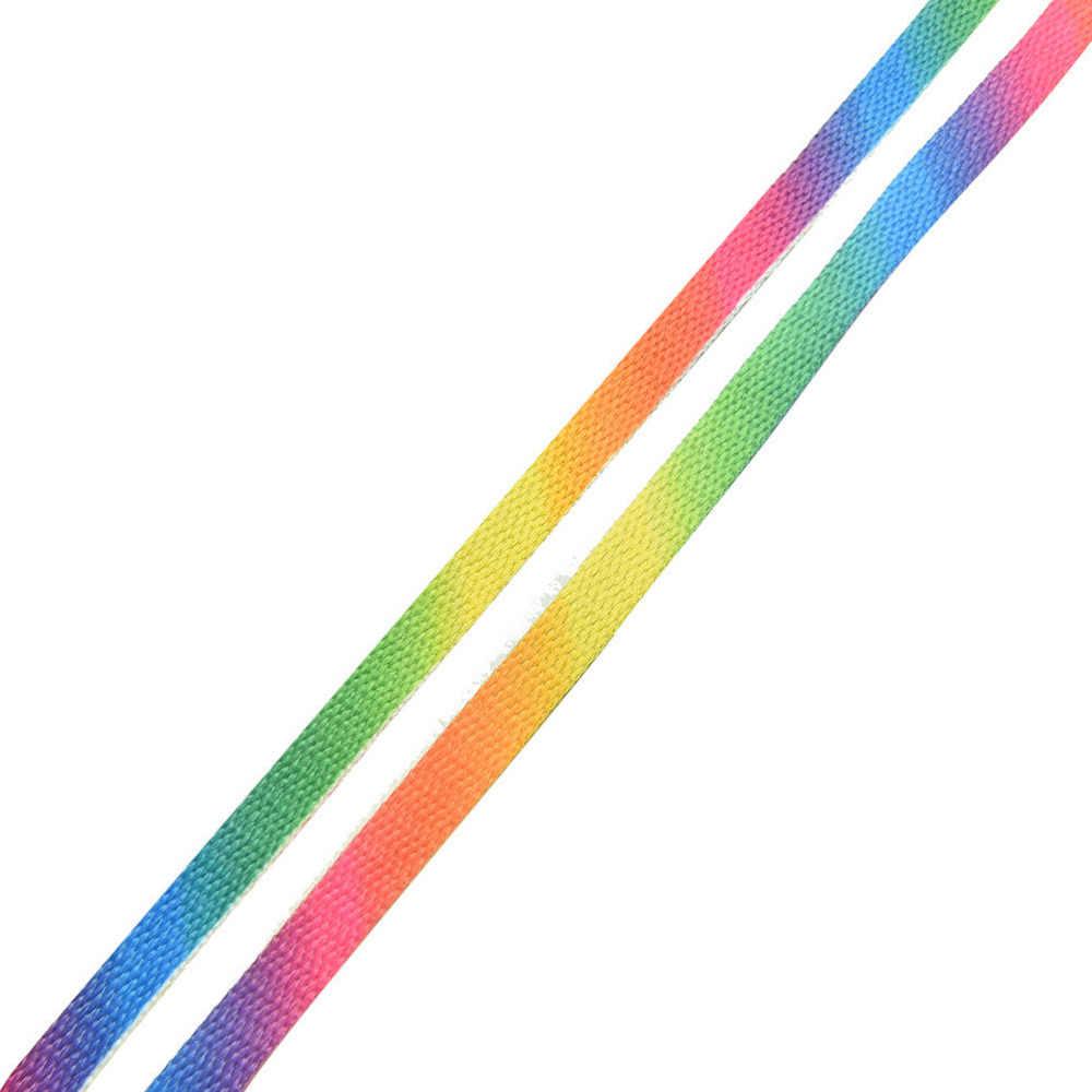 1 pairs moda arco-íris gradiente impressão plana sapatos de lona laço algodão colorido sapatos casuais chromatic cor cadarços