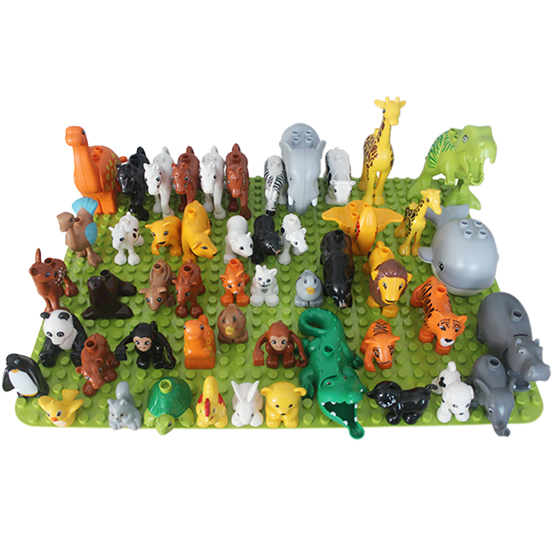 50pcs lot Animal Zoo Big Building Blocks Enlighten Child Toys Lion Giraffe Dinosaur Compatible large DIY