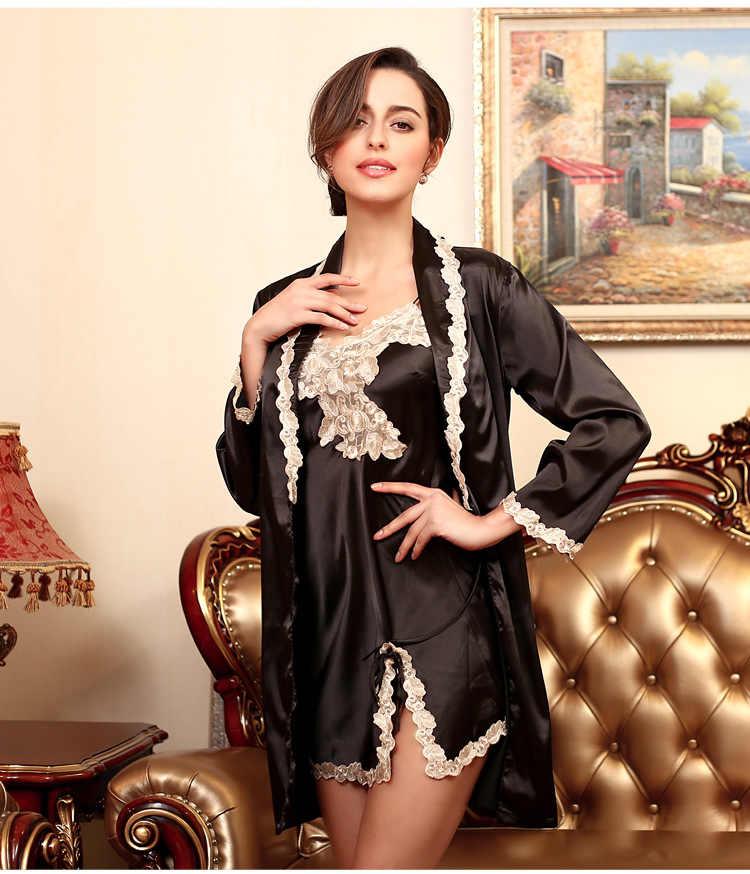 024aa672b0 ... Fdfklak High Quality Sexy Women Robe   Gown Set Summer Elegant Silk  Satin Robe Set Female