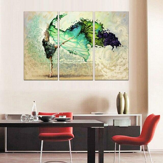 3 Stück Canvs Kunst Moderne Aquarell Poster Ballett Leinwand Malerei  Abstrakte Grüne Wand Kunst Bild Für