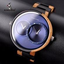 BOBO ptak zegarek relogio masculino mężczyźni 2 strefa czasowa drewniane zegarki kwarcowe kobiety projekt męska prezent zegarek w polu drewna Dropship
