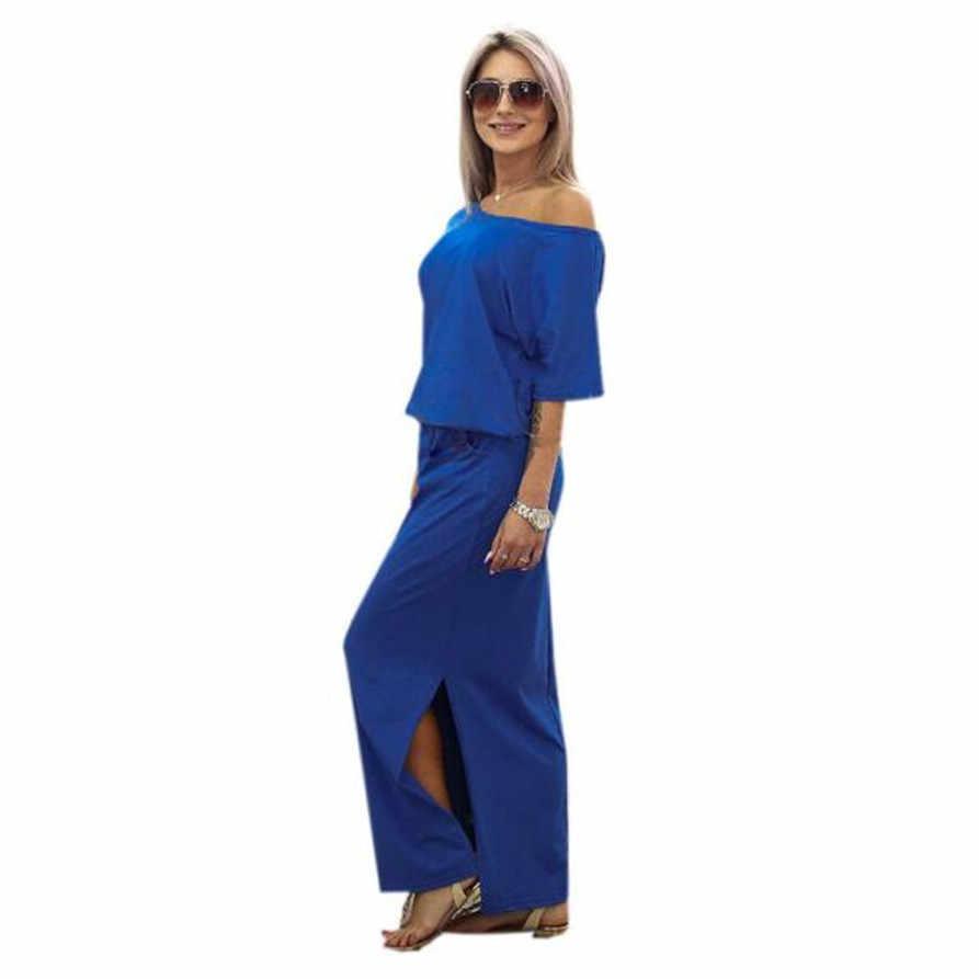 ผู้หญิงฤดูร้อน O-Nack ชุดยาว Maxi BOHO ชุดราตรีขายกับกระเป๋าแฟชั่น Mar25 *