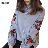 Rugod 2017 Spring Shirts Women Turn Down Long Sleeve Flower Embroidery Single Breasted Blouses Lady Fashion
