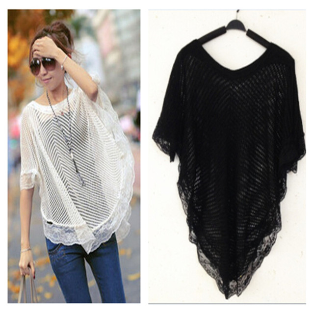 2014 Mint hollow lace shawl cloak poncho knit crochet thin pullover ...