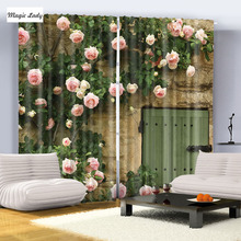 Pink Green Beige Door Flowers Roses old town City Room Curtains Home Picture Photo Print Blackout Street Kitchen Curtains