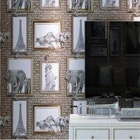 Beibehang 3d Wallpaper American Stereo Photo Frame Elephant Eiffel Brick Wallpaper Background Living Room Bedroom Wallpaper