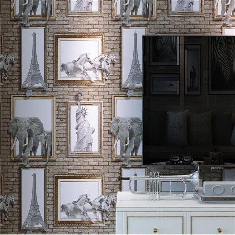 Beibehang 3d papier peint cadre Photo stéréo américain éléphant Eiffel brique papier peint fond salon chambre papier peint 3d