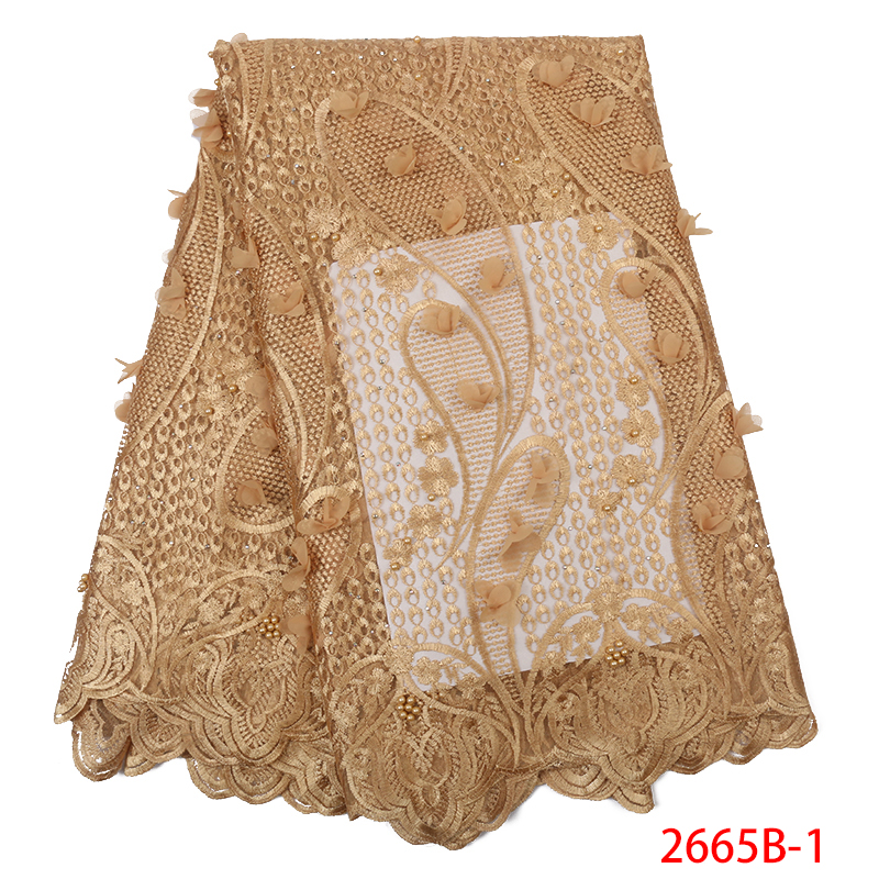 African Lace 2019 High Quality 3D Flower Lace Fabric French Fabrics Laces With Beads Stones Embroidery For Wedding KS2665B-1