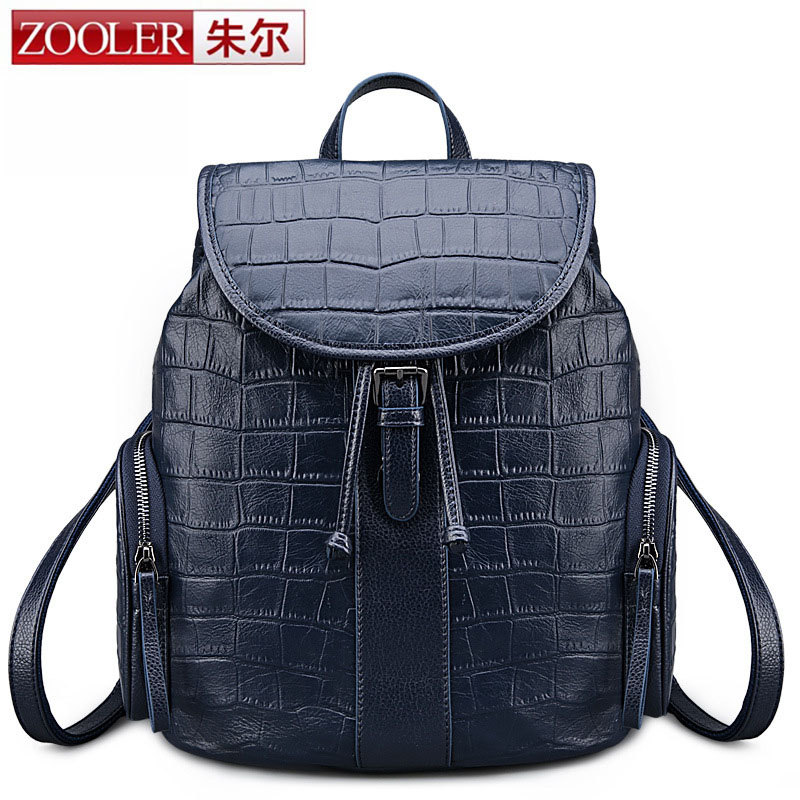 ZOOLER Women Genuine Real Cow Leather Backpack Crocodile Alligator School Book Travel Daily Casual Punk Vintage Retro Pocket brand vintage 100% genuine cow leather womens daily school backpack ipad backpacks rucksack for travel casual mochila masculina
