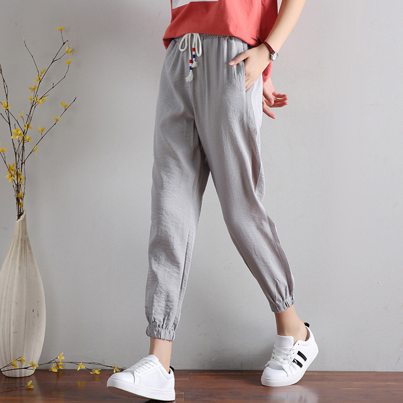 2018 Linen Harem   Pants   Women Summer Ankle Length   Pants   Casual Elastic Waist   Pants     Capris   Trousers Women Plus Size S-3XL CS62