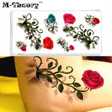 M-theory Red Rose 3D Temporary Makeup Tattoos Sticker Henna Body Arts Flash Tatoos Stickers 19x9cm Swimsuit Bikini Makeup Tools