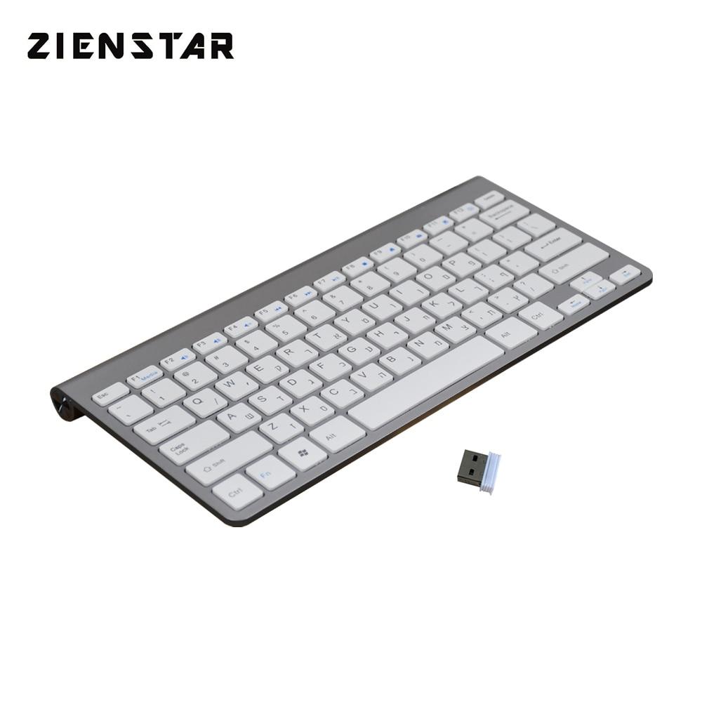 Zienstar Israel Limba ebraică Slim 2.4G fără fir tastatură pentru - Perifericele computerului