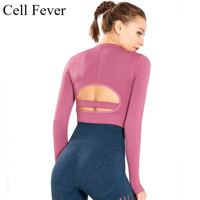 Female Sport Top Long Sleeve Crop Tops Yoga Gym Fitness Shirt Running Training Clothes For Womem Workout Solid Quick Dry T Shirt in Yoga Shirts from Sports Entertainment
