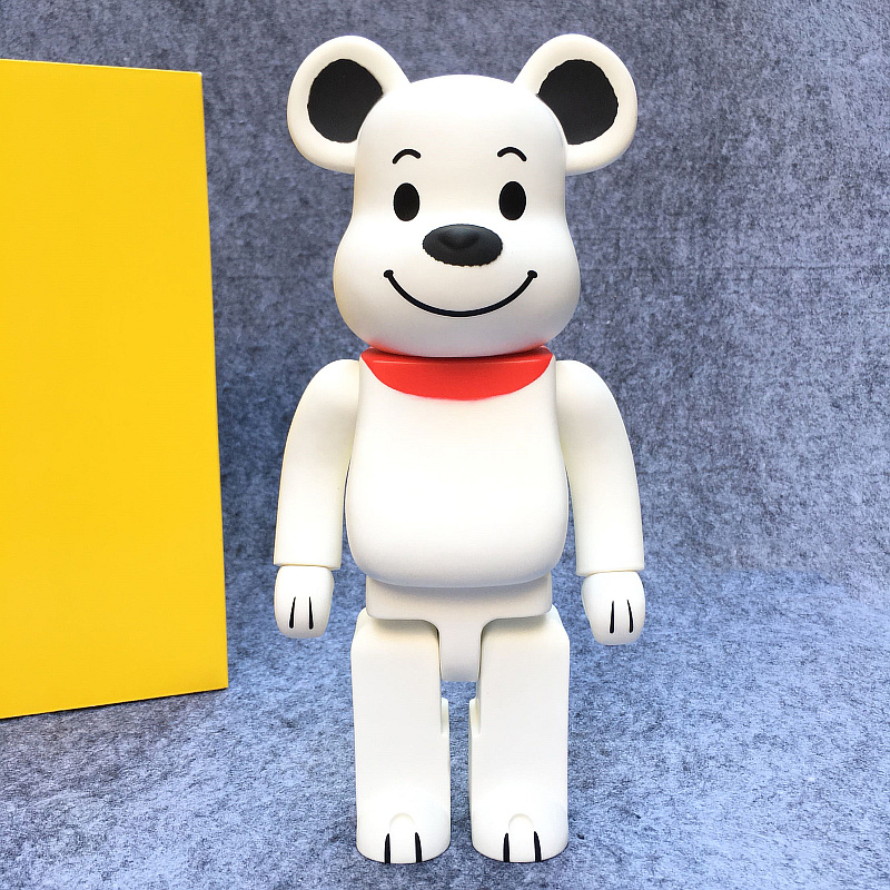 Hot Sell 400% Bearbrick Cospaly White Dog Vinyl Doll Art Figure With Yellow box