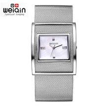 WEIQIN Nueva Marca de Fábrica Famosa de Acero de Plata Reloj de Cuarzo Ocasional de Las Mujeres De Malla Metálica Completa Vestido Relojes Relogio Feminino Reloj Horas 2016
