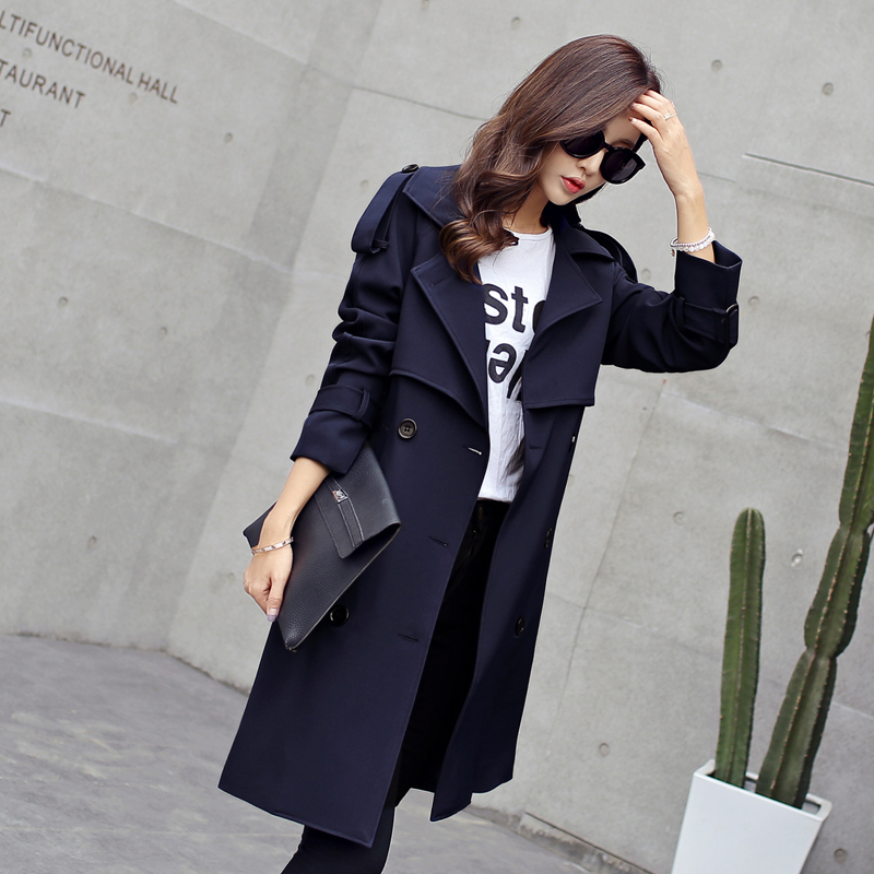 Spring and autumn new women long section of the British fashion temperament pure color Slim   trench   coat TB7798